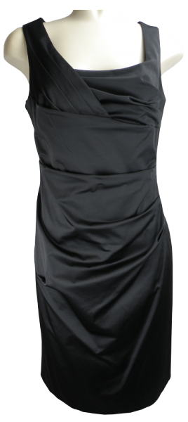 Etuikleid aus Stretchsatin in Jet Black