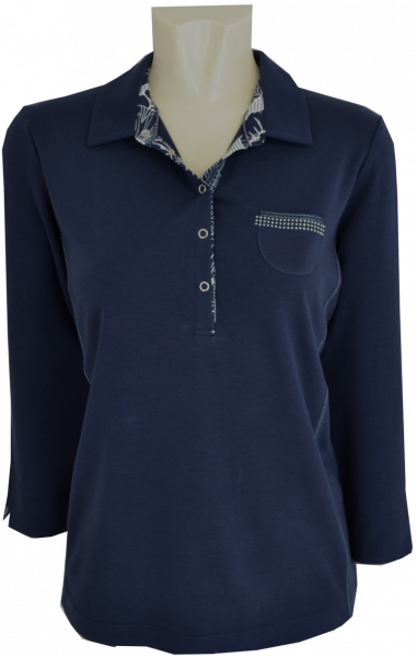 3/4 Arm Polo Shirt in dunkel blau mit Glanz