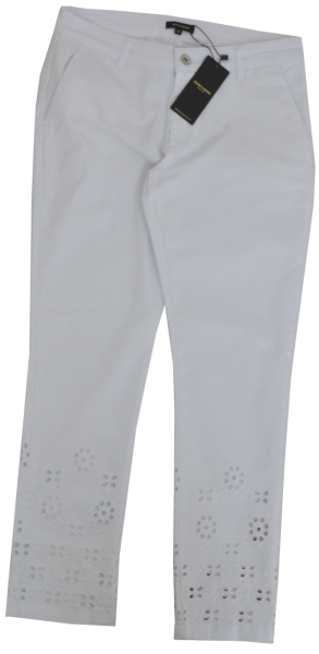 Jeans mit Ajour - Look in weiß