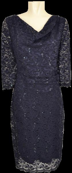 Mittellanges Abendkleid mit Spitze in night sky