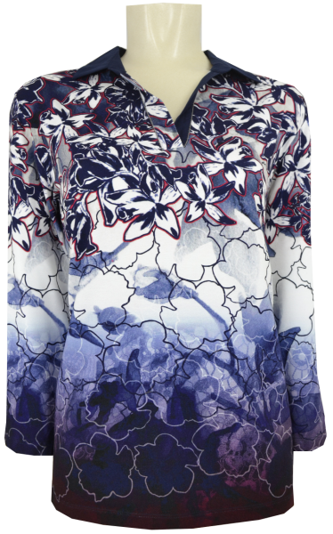 3/4 Arm Polo Shirt in floral gemustert