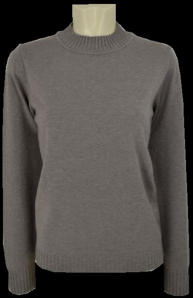 Pullover mit Stehbund in uni trüffel