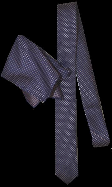 Seiden Krawatte mit Tuch in kupfer-gold und dunkel blau gemustert mit Tuch