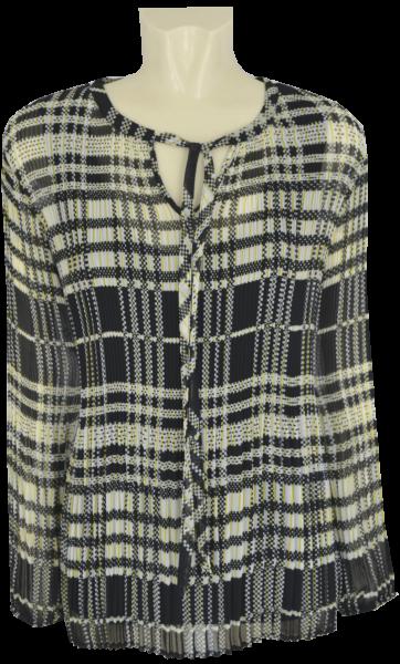 1/1 Arm Plissee Bluse in mehrfarbig schwarz gemustert