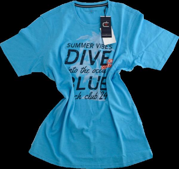 1/2 Arm T-Shirt mit Print in hell blau