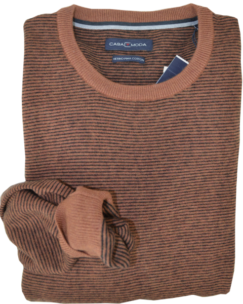 Pullover mit Rundhals in ocker meliert