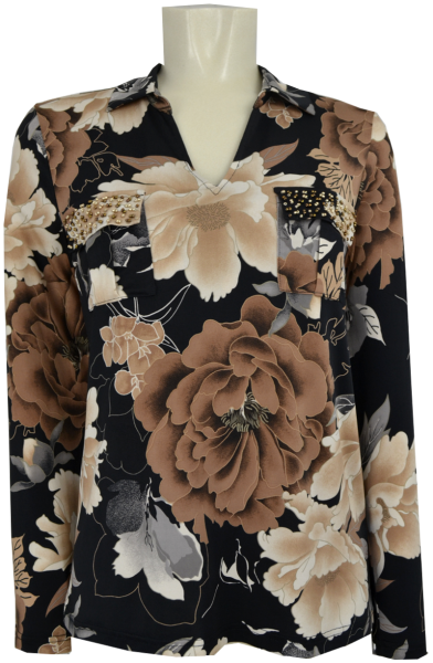 1/1 Arm Bluse in Black-Nude floral gemustert