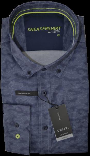 Sneaker Shirt in camouflage blau gemustert