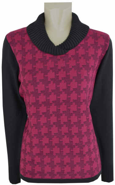 Pullover mit Schalkragen in weinrot-anthrazit