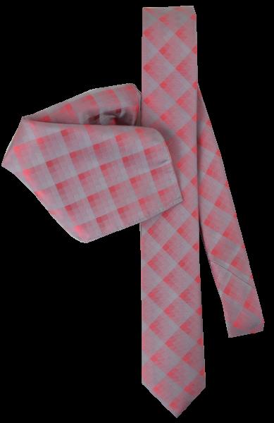 Seiden Krawatte mit Tuch in apricot-grau fein gemustert
