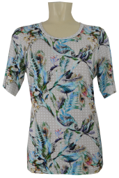 1/2 Arm T-Shirt in floral gemustert