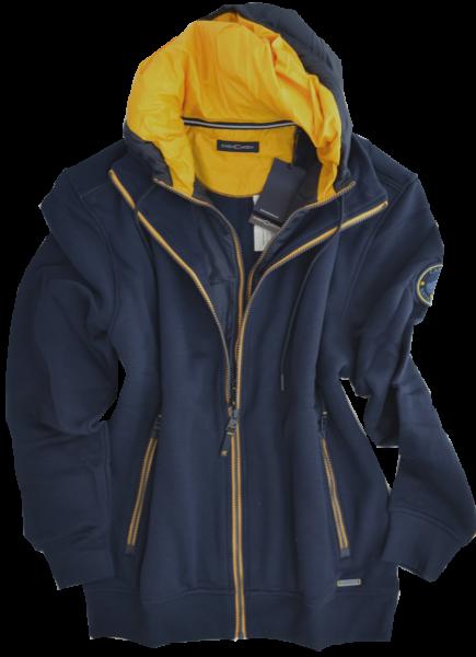Sweat-Jacke mit Kapuze in marine-orange
