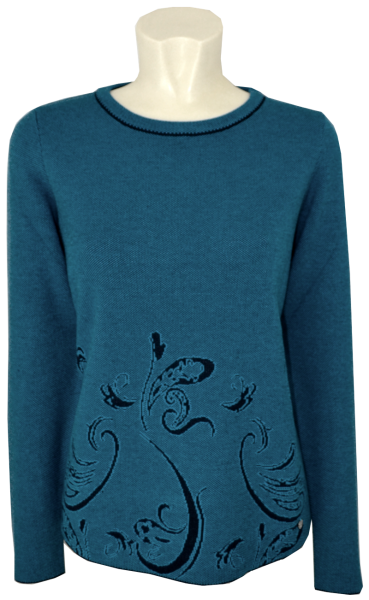 Pullover mit 1/1 Arm in turquoise