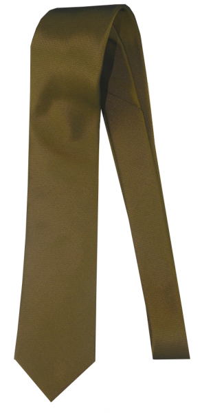 Krawatte reine Seide Uni Dunkel Gold-Messing