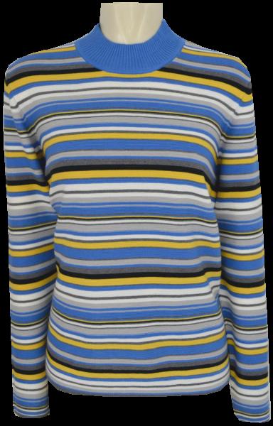 Pullover mit Turtle Kragen in mehrfarbig geringelt