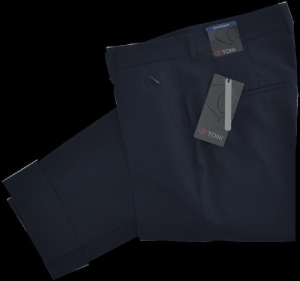 7/8 lange Stoffhose in uni marine blau