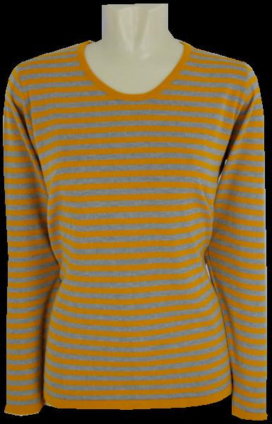 Shirt - Pulli in senf geringelt