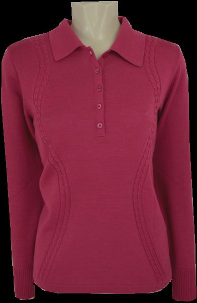 Pullover mit Kragen in uni karminrot