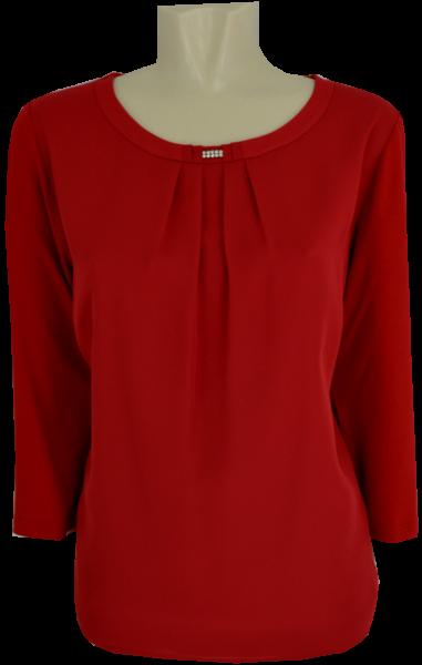 1/1 Arm T-Shirt mit rundem Ausschnitt in uni granat rot