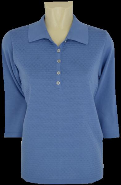 3/4 Arm Pullover mit Polo Kragen in uni enzian