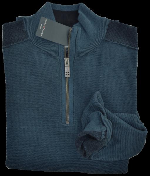 Pullover als Troyer in dunkel blau meliert