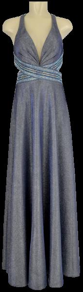 Langes Ballkleid mit Glanz in grau-blau