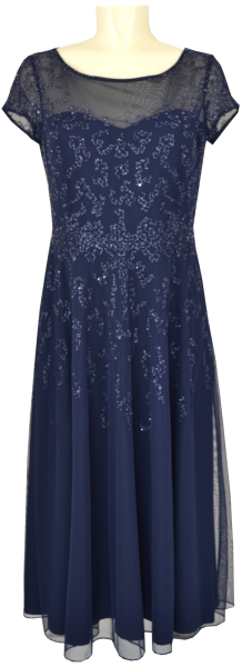 Midi langes Ballkleid in evening blue