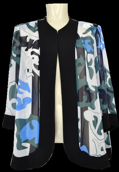 Leicht transparente Jacke in mehrfarbig gemustert