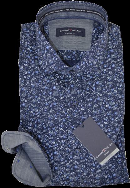 1/1 Arm Freizeithemd in minimal dessin mit blau