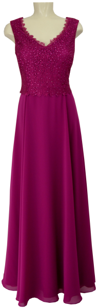 Langes Ballkleid in berry pink