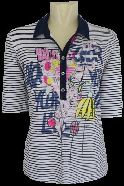 1/2 Arm Polo Shirt mit floralem Print