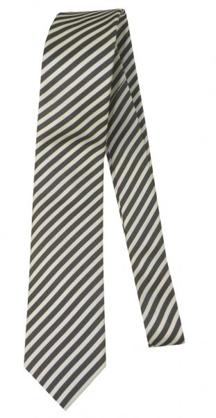 Krawatte reine Seide in Anthra-Weiß gestreift
