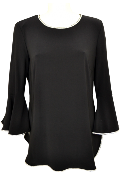 Festliches Shirt in schwarz mit Strass