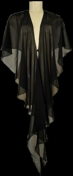 Lange Chiffon Stola in jet black