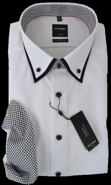 Business Hemd in weiß mit Ausschmückung am Kragen