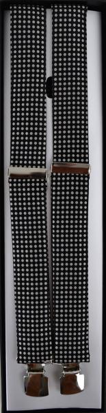 Hosenträger in schwarz-beige gepunktet