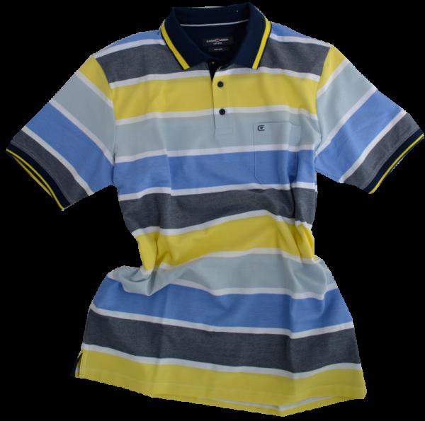 1/2 Arm Polo Shirt in mehrfarbig gemustert mit gelb
