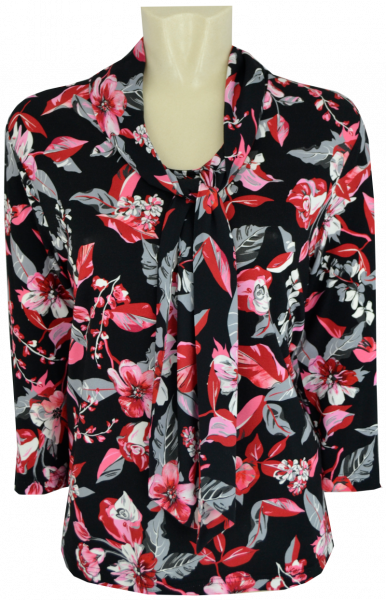3/4 Arm Bluse in allover floral gemustert