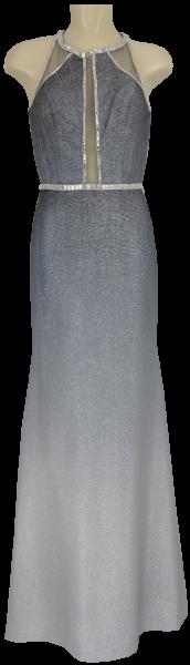 Langes Ballkleid mit Glanz in grau-silber