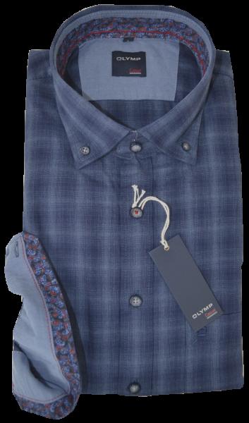 1/1 Arm Freizeithemd in dunkel blau gemustert