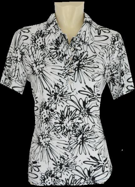 1/2 Arm Polo-Shirt in schwarz-weiß