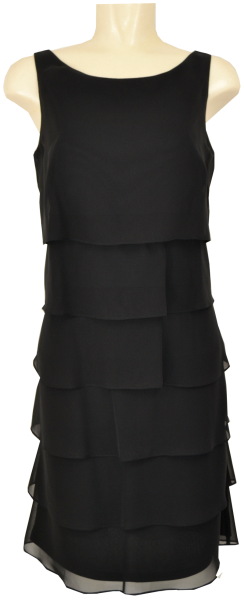 Mittellanges Volant Kleid in jet black