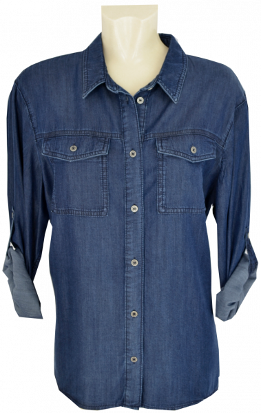 Jeansbluse zum krempeln in indigo blue
