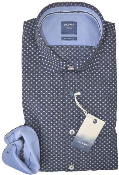 Freizeithemd in dunkel blau und minimal Dessin