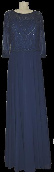 Langes Ballkleid in marine blau