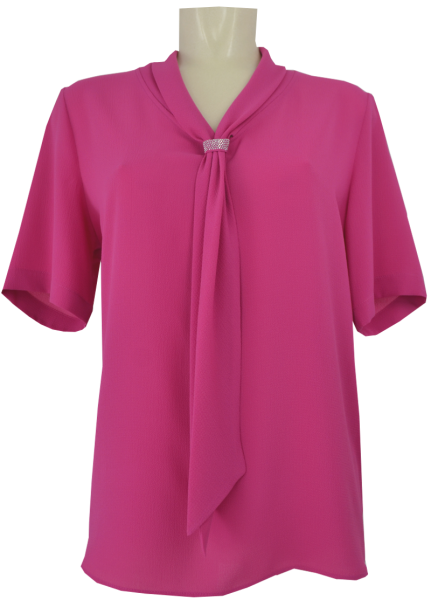 1/2 Arm Bluse in cyclam mit Schluppe