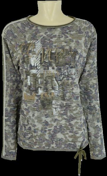 1/1 Arm Pullover in mehrfarbig gemustert mit Glanz