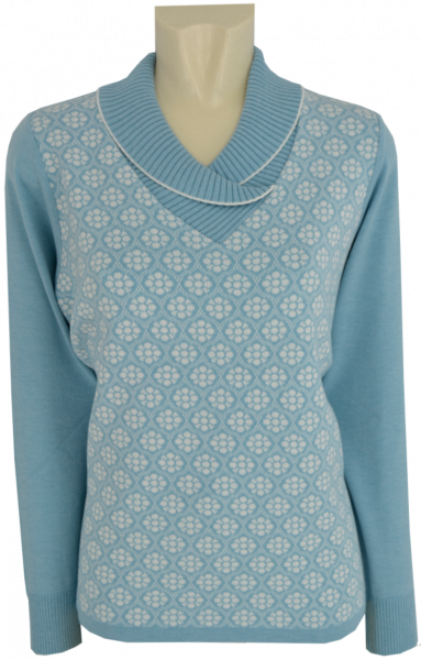 Pullover mit Umschlagkragen in eis-ecru