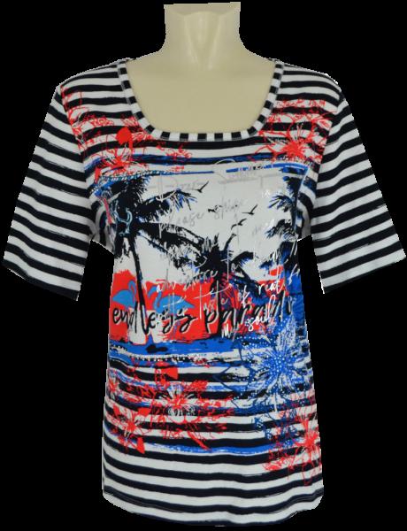 1/2 Arm T-Shirt in mehrfach gemustert mit glänzendem Print