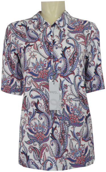 1/2 Arm Polo-Shirt in allover floral gemustert